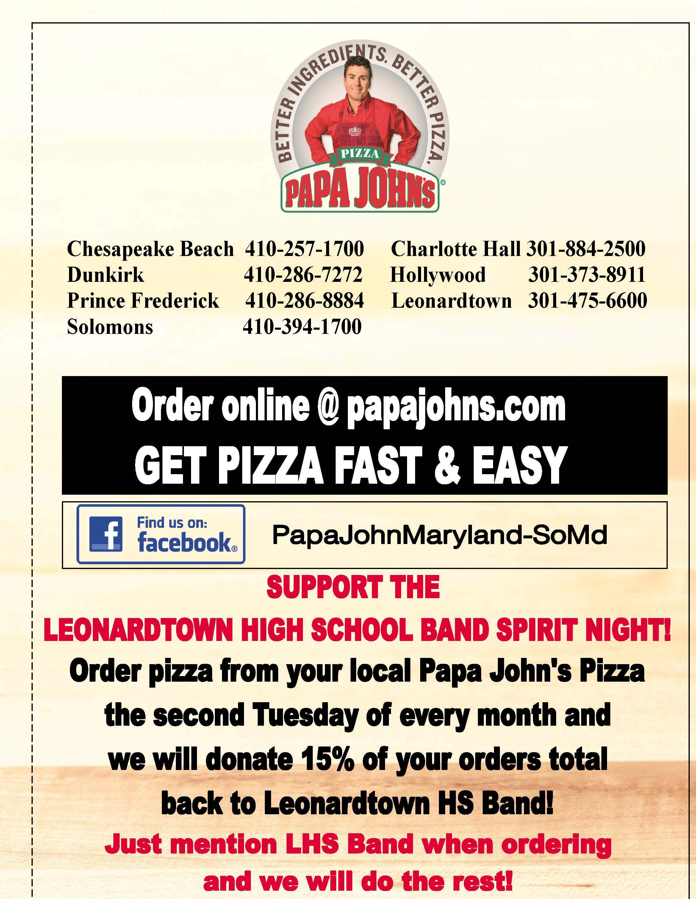 Papa John\'s Pizza Dine to Donate Fundraiser every 2nd Tuesday ...